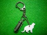 遺骨・遺毛カプセルキーホルダー「シルエット」 (カプセル 小) 猫(3) 【ゆうパケット発送対応商品】